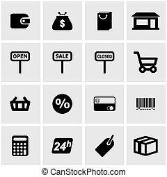 Vector black shop icon set