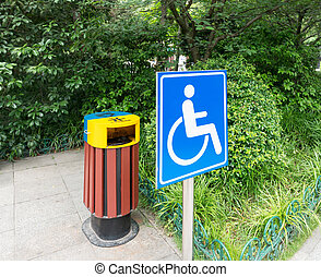 Road park, handicapped access and logo