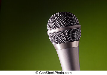 Microphone - One microphone on a green background