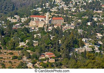 Ein Kerem village in Jerusalem - Israel - Aerial view of Ein...