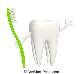 Tooth with toothbrush - isolated over white