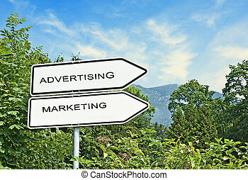 Direction road signs to advertising and marketing