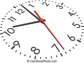Clock face with figures on isolated white background. Vector...