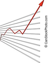 Graphical chart with red arrow up on isolated white...