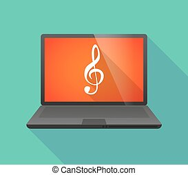 Laptop icon with a g clef - Illustration of a laptop icon...