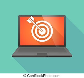 Laptop icon with a dart board - Illustration of a laptop...
