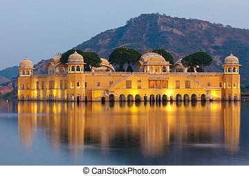 Jal Mahal Palace at twilight, Jaipur, India
