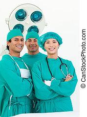 sorrindo, equipe, cirurgião