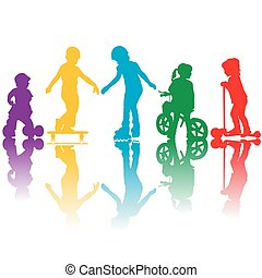 Colored silhouettes of active kids