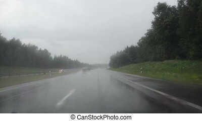 overtake car heavy rain - Dangerous car driving conditions...