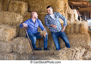 Farmers resting on hayloft - Farmers resting and talking on...