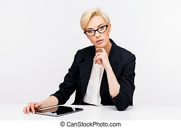 Business woman portrait - Young beautiful caucasian business...