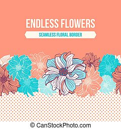 Hand-drawn flowers of dahlia. Seamless vector border. Mint,...