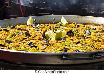 paella in a medieval fair in a town of Toledo, Spain
