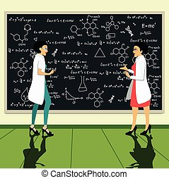 scientist - Scientists woman with blackboard writing...