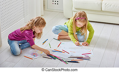 drawing children - happy children paint together