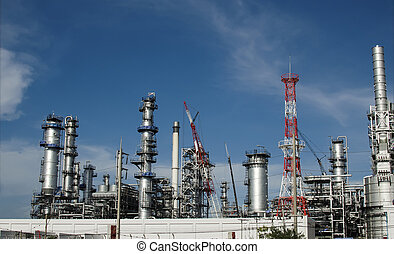 Oil refinery with blue sky