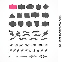 Hand drawn shapes, icons, elements and hearts - Set of hand...