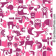 Animal seamless background - Animal vector seamless...