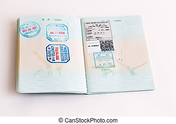 Visas and stamps in passport - Visa and customs stamps in...