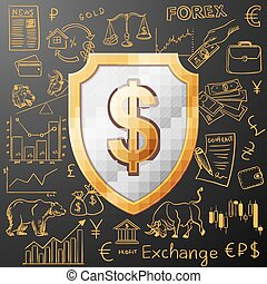 shield with dollar sign and exchange doodle icon, excellent...