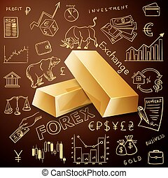 two gold nuggets and exchange doodle icon, excellent vector...