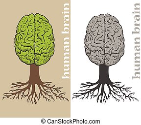 tree formed in cortex of the human brain - Vector tree...