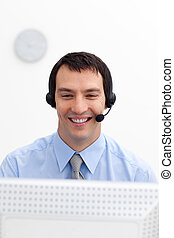 Young customer service agent with headset on