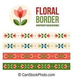 Set of design elements - floral borders - Design elements -...