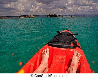 Kayaking in Byron Bay Australia - Sea kayaking in Byron Bay,...
