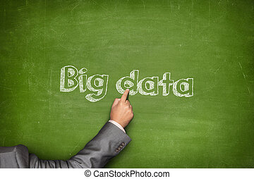 Big data concept on black blackboard with businessman hand