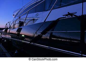 Yacht in the marina after sunset - Yacht at the marina...