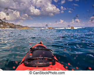 Kayaking in Byron Bay Australia - Approaching Sea Cliffs in...
