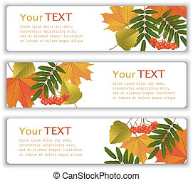 banners with autumn leaves - Four advertising banner with...