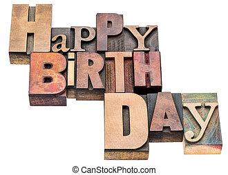 Happy Birthday sign in wood type