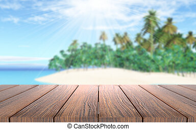 3D wooden table looking out to a tropical island in sea