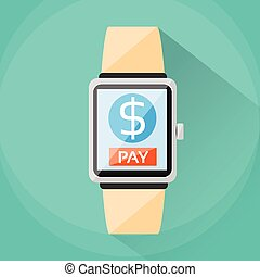 Smart Watch Payment Wearable Apps Pay Technology Flat Vector...