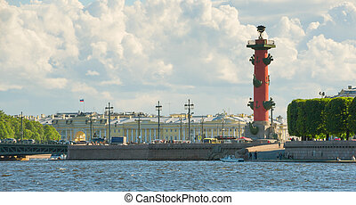Rostral Columns on the Spit of Vasilievsky Island outside...