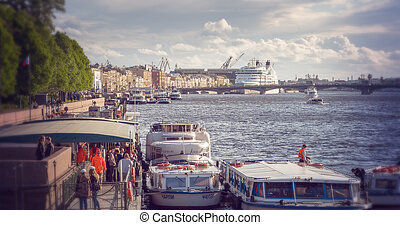 Cruise liner on the river Neva in St Petersburg, Russia...