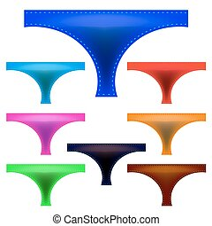 Panties - Set of Colorful Panties Isolated on White...