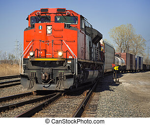 CN Freight Train from Detroit Tunnel - CN red freight train...