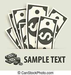 Paper bank notes and coins, money signs & text, vector...
