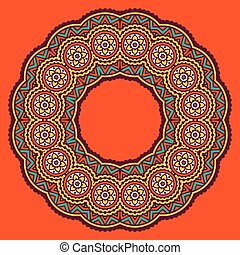 colored circular ornament in Oriental style - Circular dish...