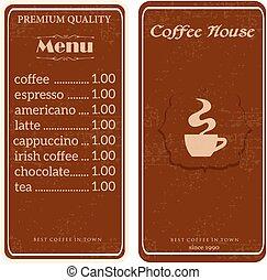 menu for coffee shop, restaurant.