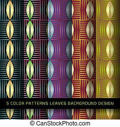 decorativo, Conjunto, hojas, Patrones, colores, elementos,  5, diseño, Extracto