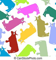 Cow color seamless ornament. Vector pattern of animals