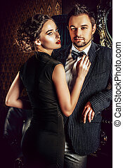 gorgeous couple - Beautiful man and woman in elegant evening...