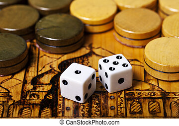 backgammon dice - a Backgammon dice vintage background