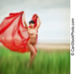 Naked with red fabric