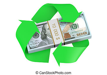 dollars and recycle symbol isolated on  white background